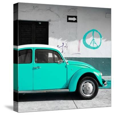 ¡Viva Mexico! Square Collection - Turquoise VW Beetle Car & Peace Symbol-Philippe Hugonnard-Stretched Canvas Print