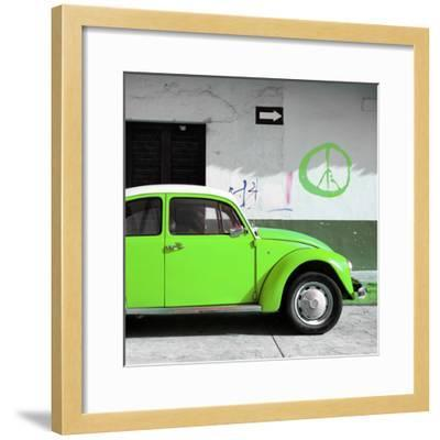 ?Viva Mexico! Square Collection - Lime Green VW Beetle Car & Peace Symbol-Philippe Hugonnard-Framed Photographic Print