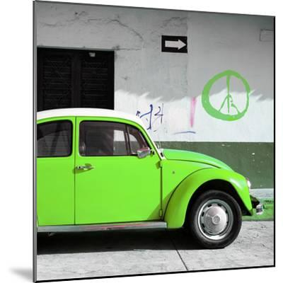 ?Viva Mexico! Square Collection - Lime Green VW Beetle Car & Peace Symbol-Philippe Hugonnard-Mounted Photographic Print