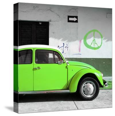 ?Viva Mexico! Square Collection - Lime Green VW Beetle Car & Peace Symbol-Philippe Hugonnard-Stretched Canvas Print