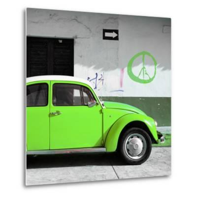 ?Viva Mexico! Square Collection - Lime Green VW Beetle Car & Peace Symbol-Philippe Hugonnard-Metal Print