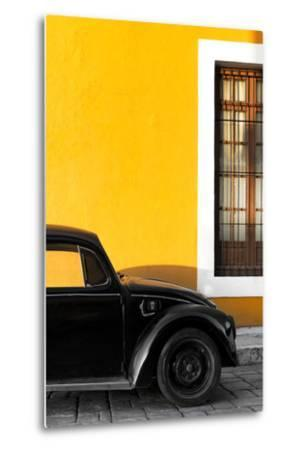 ¡Viva Mexico! Collection - Black VW Beetle with Gold Street Wall-Philippe Hugonnard-Metal Print