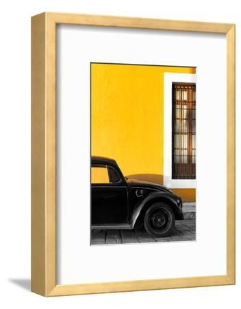 ¡Viva Mexico! Collection - Black VW Beetle with Gold Street Wall-Philippe Hugonnard-Framed Photographic Print
