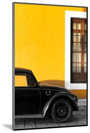 ¡Viva Mexico! Collection - Black VW Beetle with Gold Street Wall-Philippe Hugonnard-Mounted Photographic Print