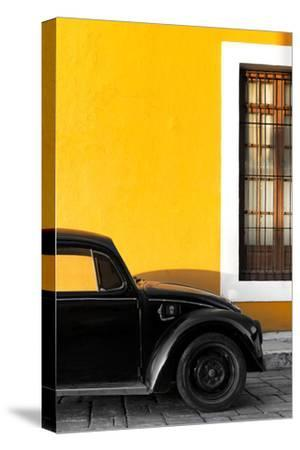 ¡Viva Mexico! Collection - Black VW Beetle with Gold Street Wall-Philippe Hugonnard-Stretched Canvas Print