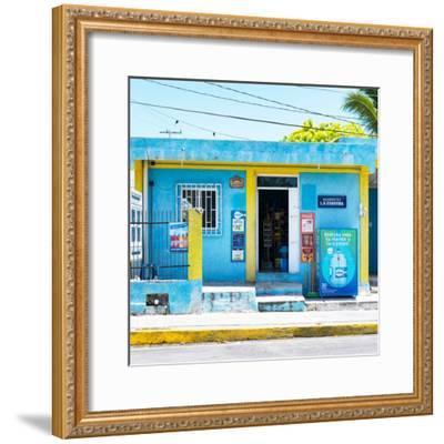 "¡Viva Mexico! Square Collection - ""La Esquina"" Blue Supermarket - Cancun-Philippe Hugonnard-Framed Photographic Print"