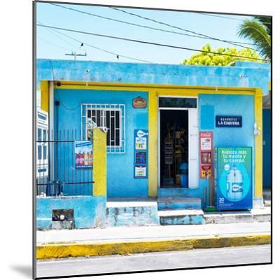 "¡Viva Mexico! Square Collection - ""La Esquina"" Blue Supermarket - Cancun-Philippe Hugonnard-Mounted Photographic Print"