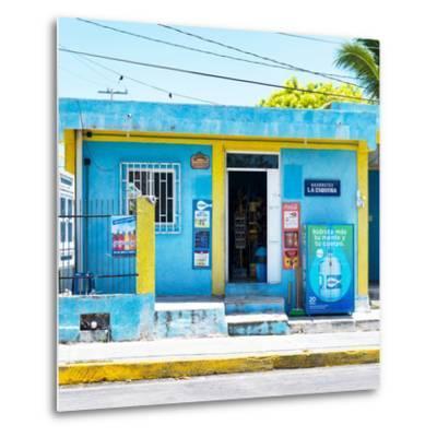 "¡Viva Mexico! Square Collection - ""La Esquina"" Blue Supermarket - Cancun-Philippe Hugonnard-Metal Print"