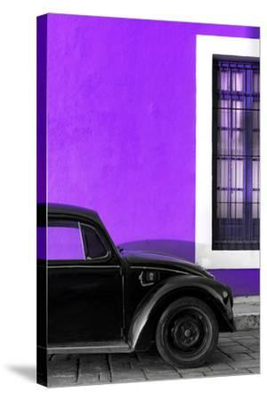 ?Viva Mexico! Collection - Black VW Beetle with Purple Street Wall-Philippe Hugonnard-Stretched Canvas Print