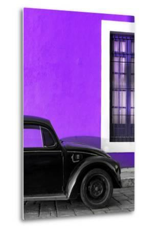 ?Viva Mexico! Collection - Black VW Beetle with Purple Street Wall-Philippe Hugonnard-Metal Print