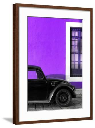 ?Viva Mexico! Collection - Black VW Beetle with Purple Street Wall-Philippe Hugonnard-Framed Photographic Print