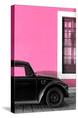 ¡Viva Mexico! Collection - Black VW Beetle with Hot Pink Street Wall-Philippe Hugonnard-Stretched Canvas Print