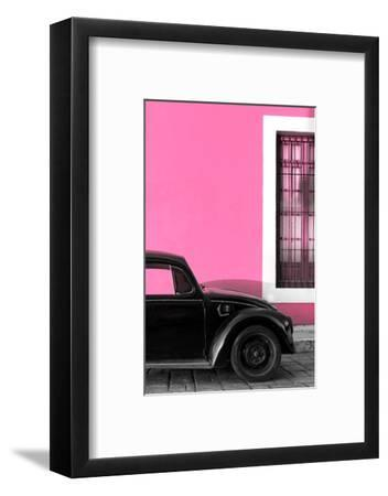 ¡Viva Mexico! Collection - Black VW Beetle with Hot Pink Street Wall-Philippe Hugonnard-Framed Photographic Print