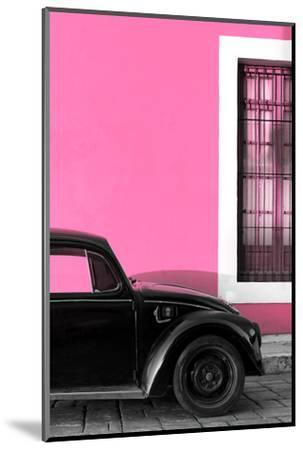 ¡Viva Mexico! Collection - Black VW Beetle with Hot Pink Street Wall-Philippe Hugonnard-Mounted Photographic Print