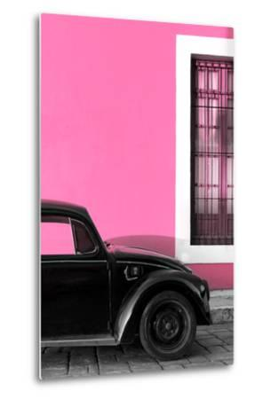 ¡Viva Mexico! Collection - Black VW Beetle with Hot Pink Street Wall-Philippe Hugonnard-Metal Print