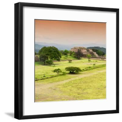 ¡Viva Mexico! Square Collection - Ruins of Monte Alban at Sunset II-Philippe Hugonnard-Framed Photographic Print