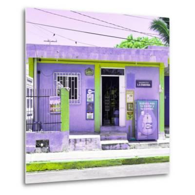 "¡Viva Mexico! Square Collection - ""La Esquina"" Purple Supermarket - Cancun-Philippe Hugonnard-Metal Print"