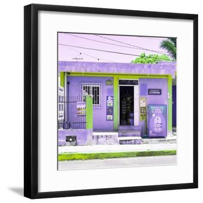 "¡Viva Mexico! Square Collection - ""La Esquina"" Purple Supermarket - Cancun-Philippe Hugonnard-Framed Photographic Print"