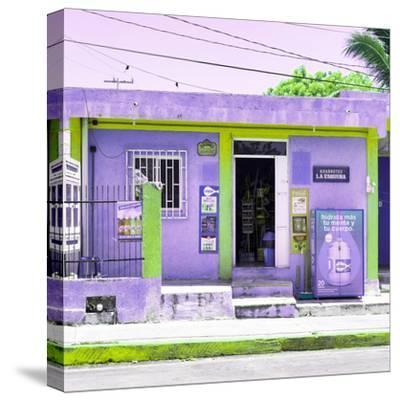 "¡Viva Mexico! Square Collection - ""La Esquina"" Purple Supermarket - Cancun-Philippe Hugonnard-Stretched Canvas Print"