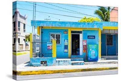 "?Viva Mexico! Collection - ""La Esquina"" Blue Supermarket - Cancun-Philippe Hugonnard-Stretched Canvas Print"