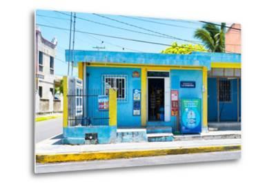 "?Viva Mexico! Collection - ""La Esquina"" Blue Supermarket - Cancun-Philippe Hugonnard-Metal Print"