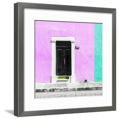 ¡Viva Mexico! Square Collection - Pink and Coral Green Facade - Campeche-Philippe Hugonnard-Framed Photographic Print