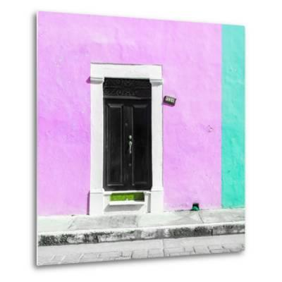 ¡Viva Mexico! Square Collection - Pink and Coral Green Facade - Campeche-Philippe Hugonnard-Metal Print