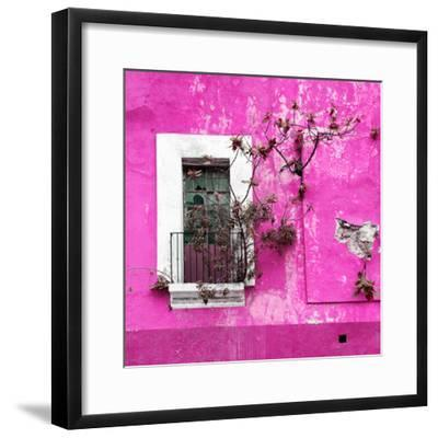 ¡Viva Mexico! Square Collection - Old Deep Pink Facade II-Philippe Hugonnard-Framed Photographic Print