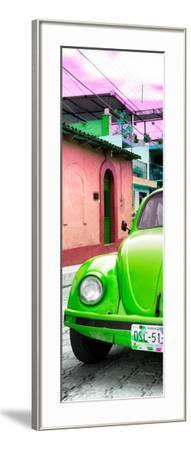 ¡Viva Mexico! Panoramic Collection - Green VW Beetle Car and Colorful Houses-Philippe Hugonnard-Framed Photographic Print