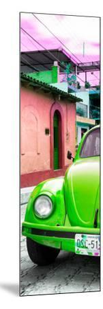 ¡Viva Mexico! Panoramic Collection - Green VW Beetle Car and Colorful Houses-Philippe Hugonnard-Mounted Photographic Print