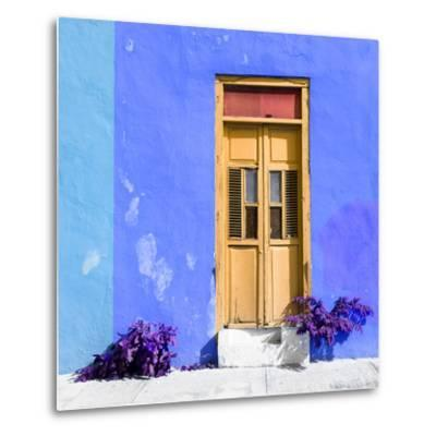¡Viva Mexico! Square Collection - Dark Beige Door & Blue Wall in Campeche-Philippe Hugonnard-Metal Print