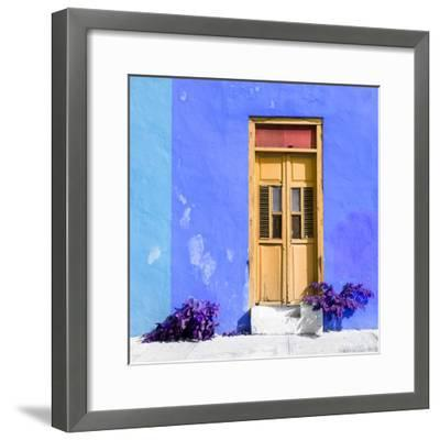 ¡Viva Mexico! Square Collection - Dark Beige Door & Blue Wall in Campeche-Philippe Hugonnard-Framed Photographic Print