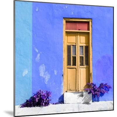 ¡Viva Mexico! Square Collection - Dark Beige Door & Blue Wall in Campeche-Philippe Hugonnard-Mounted Photographic Print