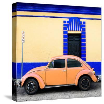 ¡Viva Mexico! Square Collection - Coral VW Beetle - San Cristobal-Philippe Hugonnard-Stretched Canvas Print