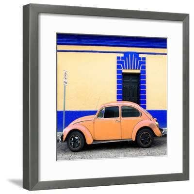 ¡Viva Mexico! Square Collection - Coral VW Beetle - San Cristobal-Philippe Hugonnard-Framed Photographic Print