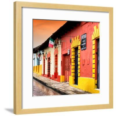 ¡Viva Mexico! Square Collection - Street Scene in San Cristobal de Las Casas II-Philippe Hugonnard-Framed Photographic Print