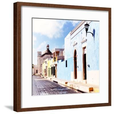 ¡Viva Mexico! Square Collection - Beautiful Colorful Street in Campeche V-Philippe Hugonnard-Framed Photographic Print
