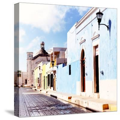¡Viva Mexico! Square Collection - Beautiful Colorful Street in Campeche V-Philippe Hugonnard-Stretched Canvas Print