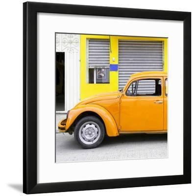 ¡Viva Mexico! Square Collection - Orange VW Beetle and Yellow Facade-Philippe Hugonnard-Framed Photographic Print