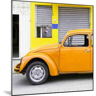 ¡Viva Mexico! Square Collection - Orange VW Beetle and Yellow Facade-Philippe Hugonnard-Mounted Photographic Print