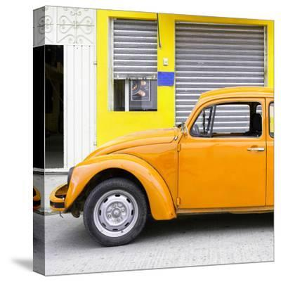 ¡Viva Mexico! Square Collection - Orange VW Beetle and Yellow Facade-Philippe Hugonnard-Stretched Canvas Print