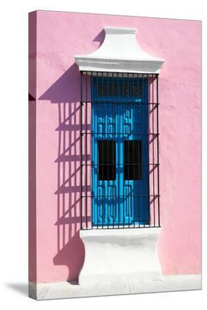 ?Viva Mexico! Collection - Blue Window and Pink Wall in Campeche-Philippe Hugonnard-Stretched Canvas Print