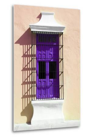 ¡Viva Mexico! Collection - Purple Window and Apricot Wall in Campeche-Philippe Hugonnard-Metal Print