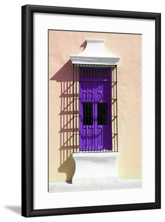 ¡Viva Mexico! Collection - Purple Window and Apricot Wall in Campeche-Philippe Hugonnard-Framed Photographic Print