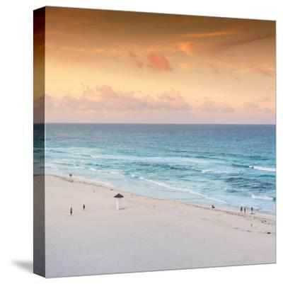 ¡Viva Mexico! Square Collection - Ocean View at Sunset in Cancun II-Philippe Hugonnard-Stretched Canvas Print
