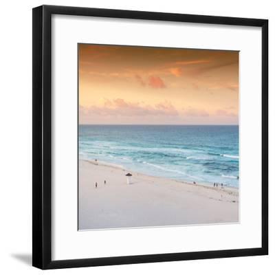 ¡Viva Mexico! Square Collection - Ocean View at Sunset in Cancun II-Philippe Hugonnard-Framed Photographic Print