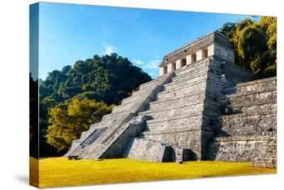 ?Viva Mexico! Collection - Mayan Temple of Inscriptions with Fall Colors - Palenque-Philippe Hugonnard-Stretched Canvas Print