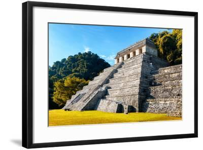 ?Viva Mexico! Collection - Mayan Temple of Inscriptions with Fall Colors - Palenque-Philippe Hugonnard-Framed Photographic Print
