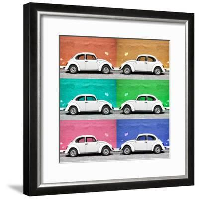 ¡Viva Mexico! Square Collection - White VW Beetle Cars & Color Walls-Philippe Hugonnard-Framed Photographic Print
