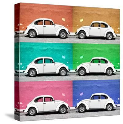 ¡Viva Mexico! Square Collection - White VW Beetle Cars & Color Walls-Philippe Hugonnard-Stretched Canvas Print